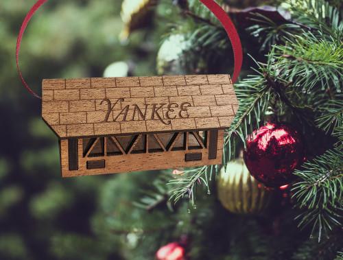 Yankee Covered Bridge Christmas Wooden Ornament