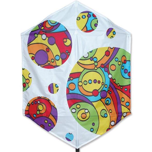 Premier Kites - 56 in. Rokkaku Kite - Rainbow Orbit Bubbles