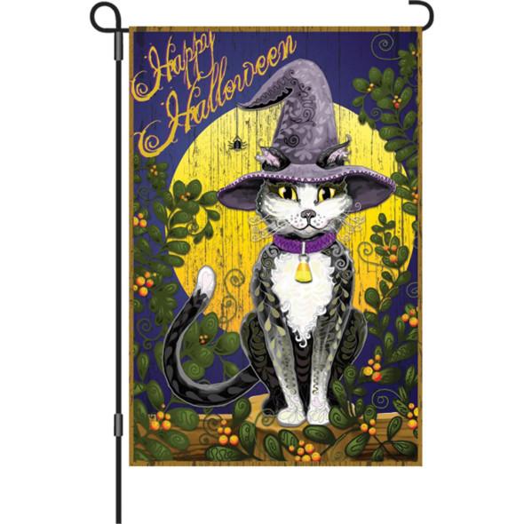 Premier kites - 12 in. Halloween Garden Flag - Candy Corn Cat