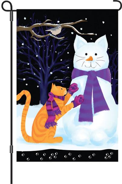"""Premier kites - 12"""" x 18"""" Garden Brilliance Flag, Snow Cat"""