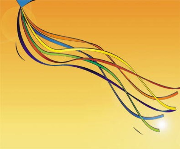 Gomberg kites - Ribbon Tails - 15 Foot / 6 Ribbons - Rainbow