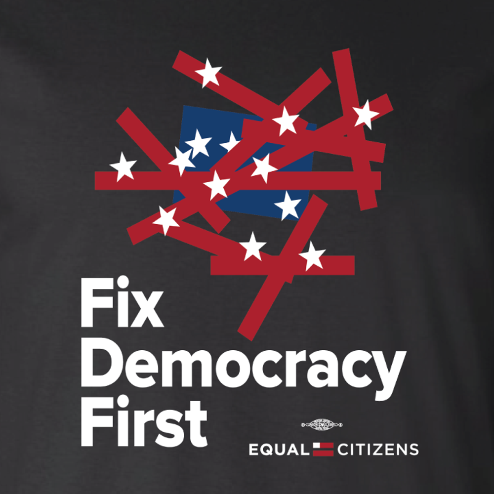 Fix Democracy First - Flag Design (Unisex Black Tee)