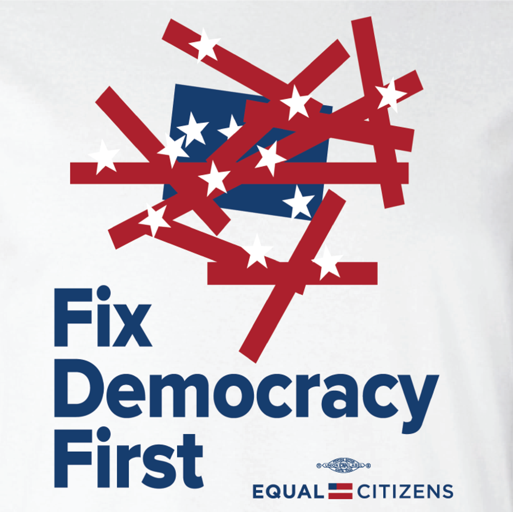 Fix Democracy First - Flag Design (Unisex White Tank)