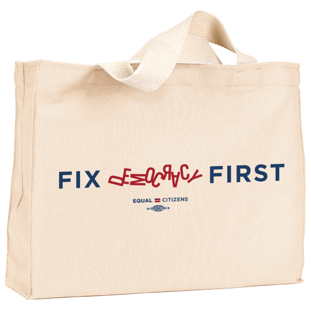 Fix Democracy First - Jumbled Text Design (Natural Canvas Tote)