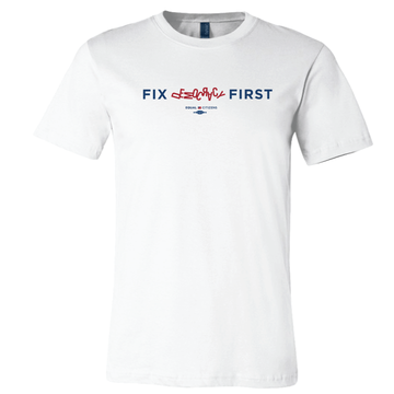 Fix Democracy First - Jumbled Text Design (Unisex White Tee)