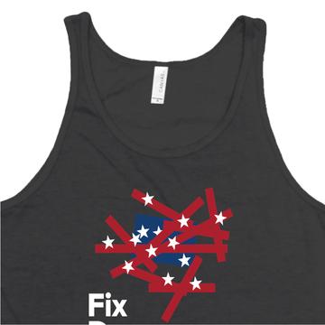 Fix Democracy First - Flag Design (Unisex Black Tank)