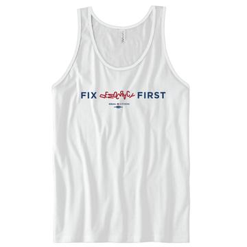 Fix Democracy First - Jumbled Text Design (Unisex White Tank)