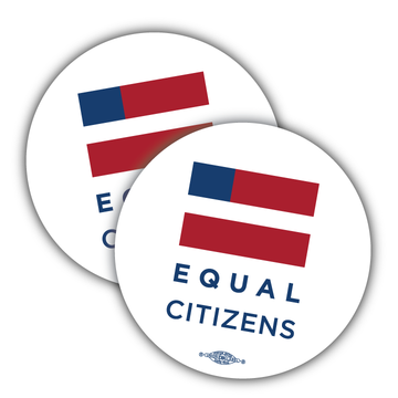 "Equal Citizens Logo - White (3.5"" x 3.5"" Vinyl Sticker -- Pack of Two!)"