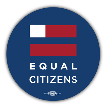 "Equal Citizens Logo - Navy (3.5"" x 3.5"" Vinyl Sticker -- Pack of Two!)"
