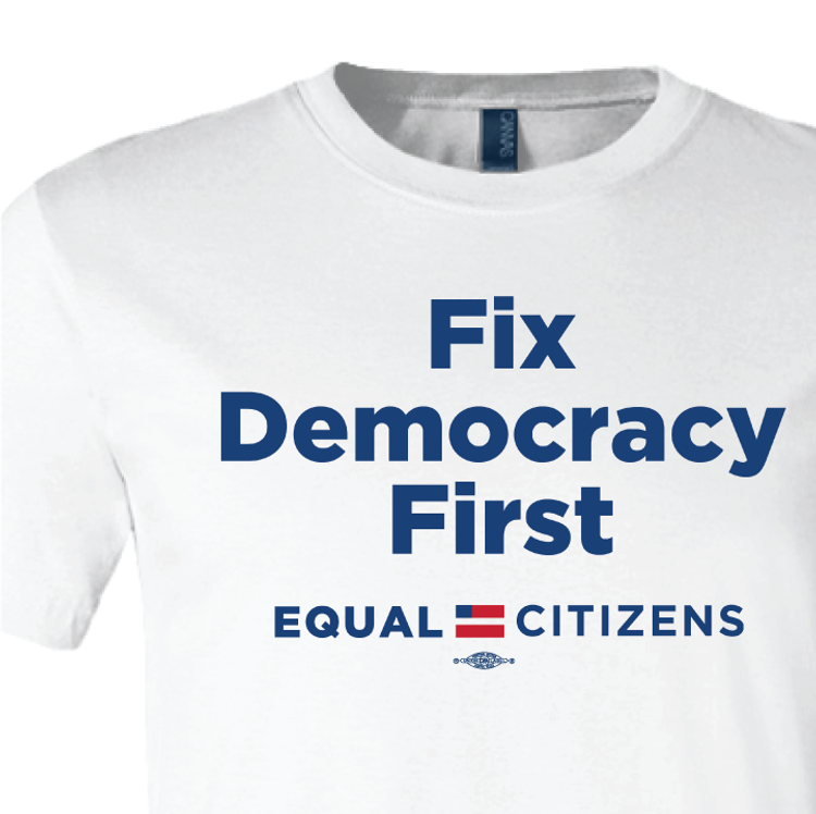 Fix Democracy First - Stacked Text Design (Unisex Black Tee)