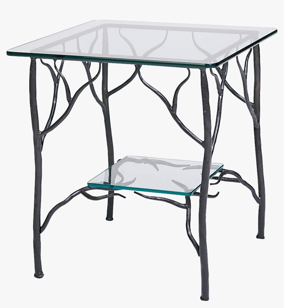 - Wrought Iron End Tables With Glass Tops Rustic Accent Table