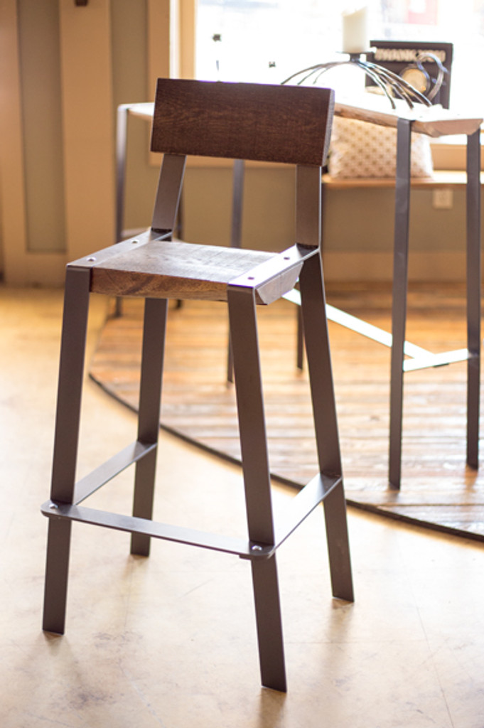 Metal And Wood Bar Stool With Back Rustic Counter Height