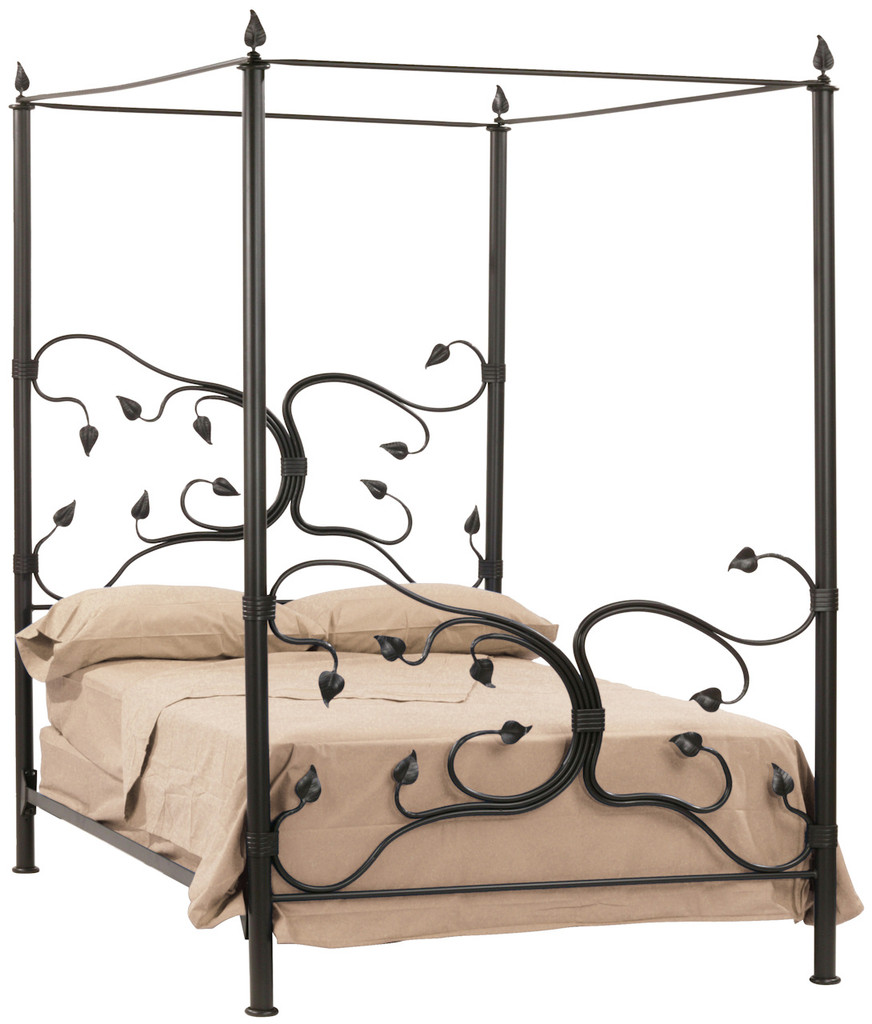 Picture of: Queen Wrought Iron Canopy Bed Metal Tree Bed Frame