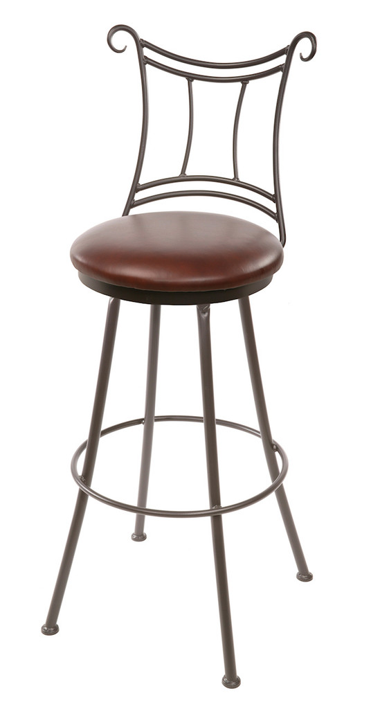 25 Inch Waterbury Hand Forged Iron Swivel Bar Stool