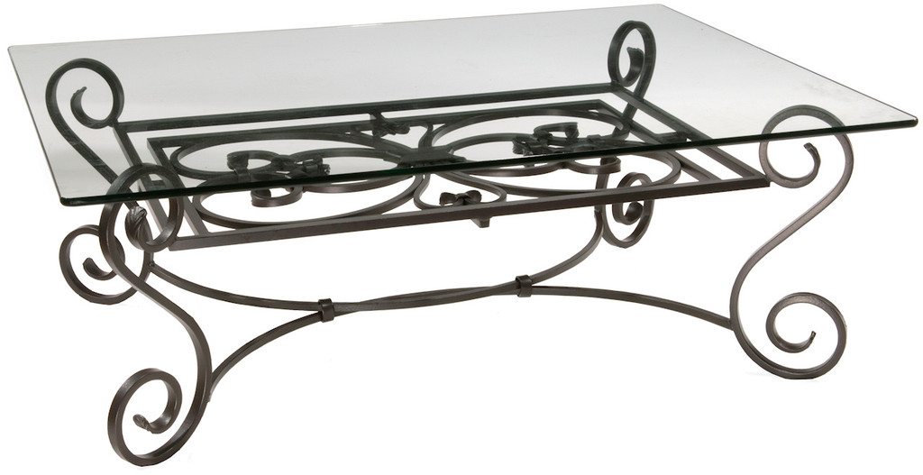 Stratford Cocktail Iron Table With Glass Top