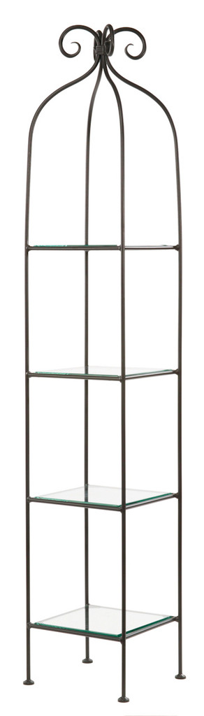 Iron Standing Shelf - Wrapped Scroll - 4 Tier-Narrow