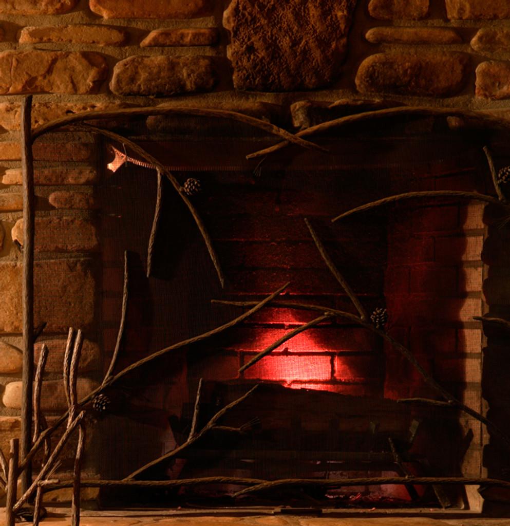 Pine Iron Single Panel Fire screen
