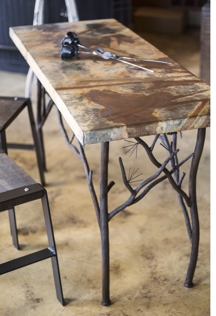 Beauty shot of the pine console table with our new Zinc top.