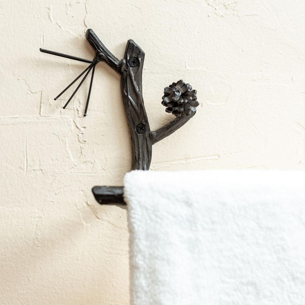 Pine Iron Towel Bar 16 Inch