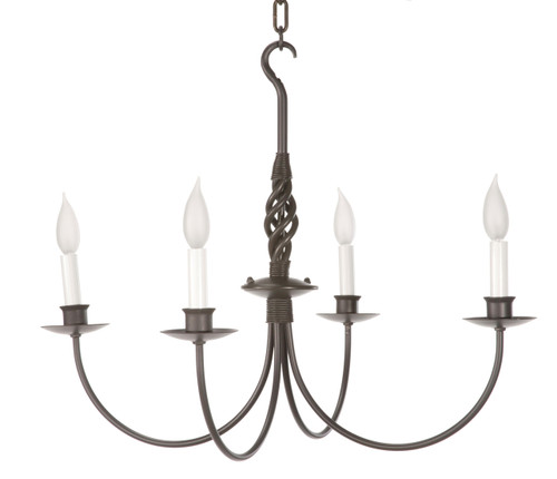 Basketweave 4 Arm Iron Chandelier