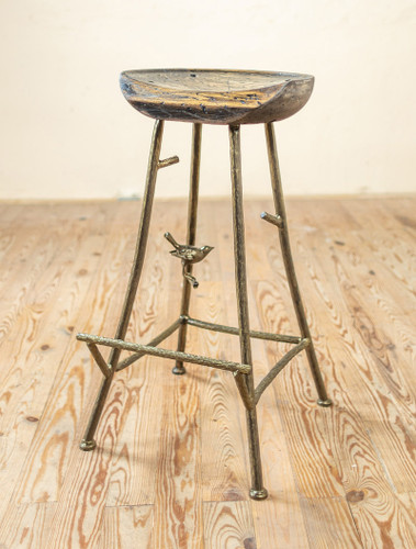 Sparrow Iron Stool with Sculpted Wood Seat