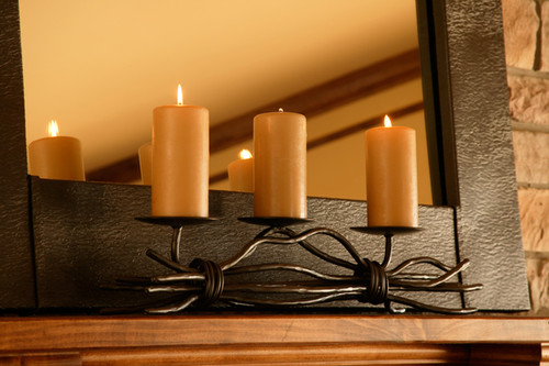Triple Candle Holder Iron Fireplace Candle Holder