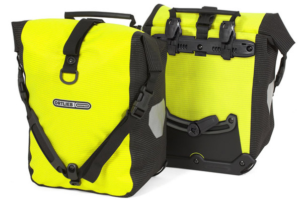 High Vis Ortlieb Panniers - PU laminated Cordura Fabric with reflective interwoven yarn. Be bright in all conditions.