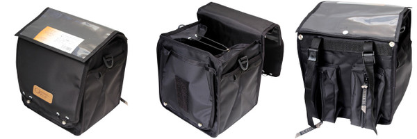 Ostrich F-530  taller & narrower, includes shoulder strap for off the bike portability.