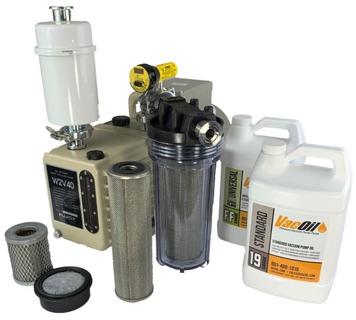 The FLUIDX 14 CFM Professional Package includes all of the necessary accessories for a complete vacuum system. This package is built around a FLUIDX W2V40 rotary vane vacuum pump that features a rugged, two-stage, air-cooled design and is capable of pumping speeds of 14 cfm and producing an ultimate vacuum of 10-3 Torr. Each Professional Vacuum Package also includes a clear exhaust trap, dual stage oil mist eliminator, vacuum fittings and extra vacuum pump fluids and cartridges