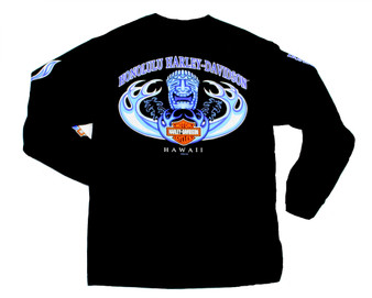 Harley-Davidson Men's Long Sleeve T-shirt Hawaii exclusive design Tiki Wave