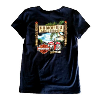 Tiki Tropical Harley-Davidson V-neck T-shirt