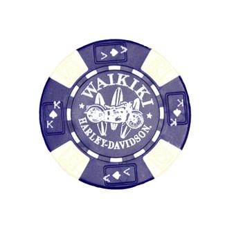 Harley-Davidson Surfboard Blue Poker Chips
