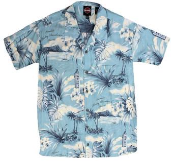 Coastal Blue Harley-Davidson Tori Richard Aloha Shirt 3X