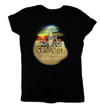 Waikiki Surfboard Harley-Davidson V-neck T-shirt