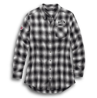 Crackle Print Graphic Harley-Davidson Plaid Shirt