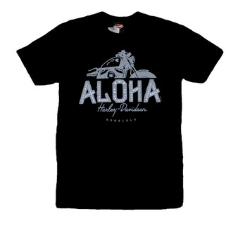Harley-Davidson Men's Short Sleeve Black T-shirt with  Aloha Moto Design