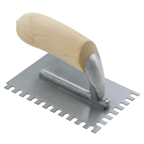 "1/4"" x 1/4"" x 1/4"" Square-Notch Midget Trowel with Wood Handle"