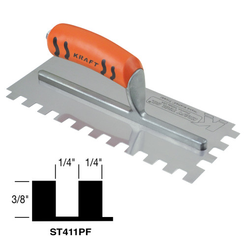 "1/4"" x 3/8"" x 1/4"" Square-Notch Trowel with ProForm® Handle"