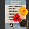 Saab 9-5 shift cable repair kit includes custom molded bushing one for each of the different style of cable end shape round or oblong.