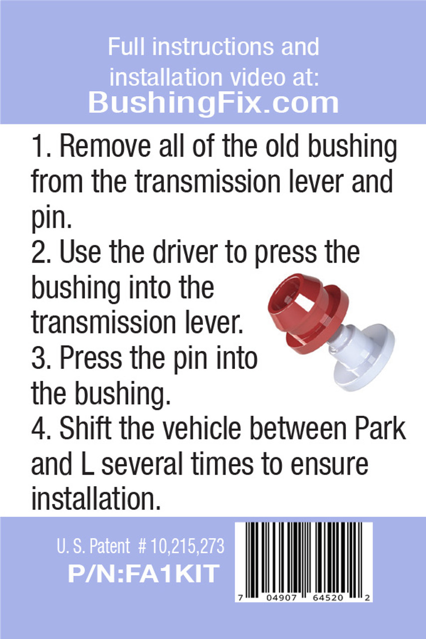 Ford F-250 FA1KIT™ Transmission Shift Lever / Linkage Replacement Bushing Kit easy to follow instructions for DIY.