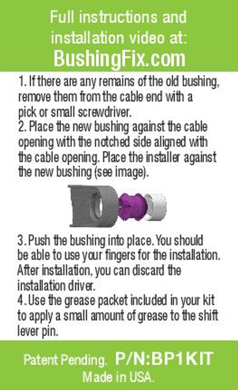 Scion xD shifter cable bushing