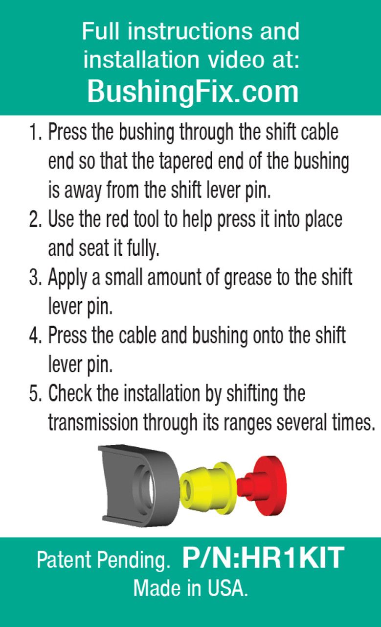 HR1Kit transfer or shift cable repair for bushing with easy to follow directions.