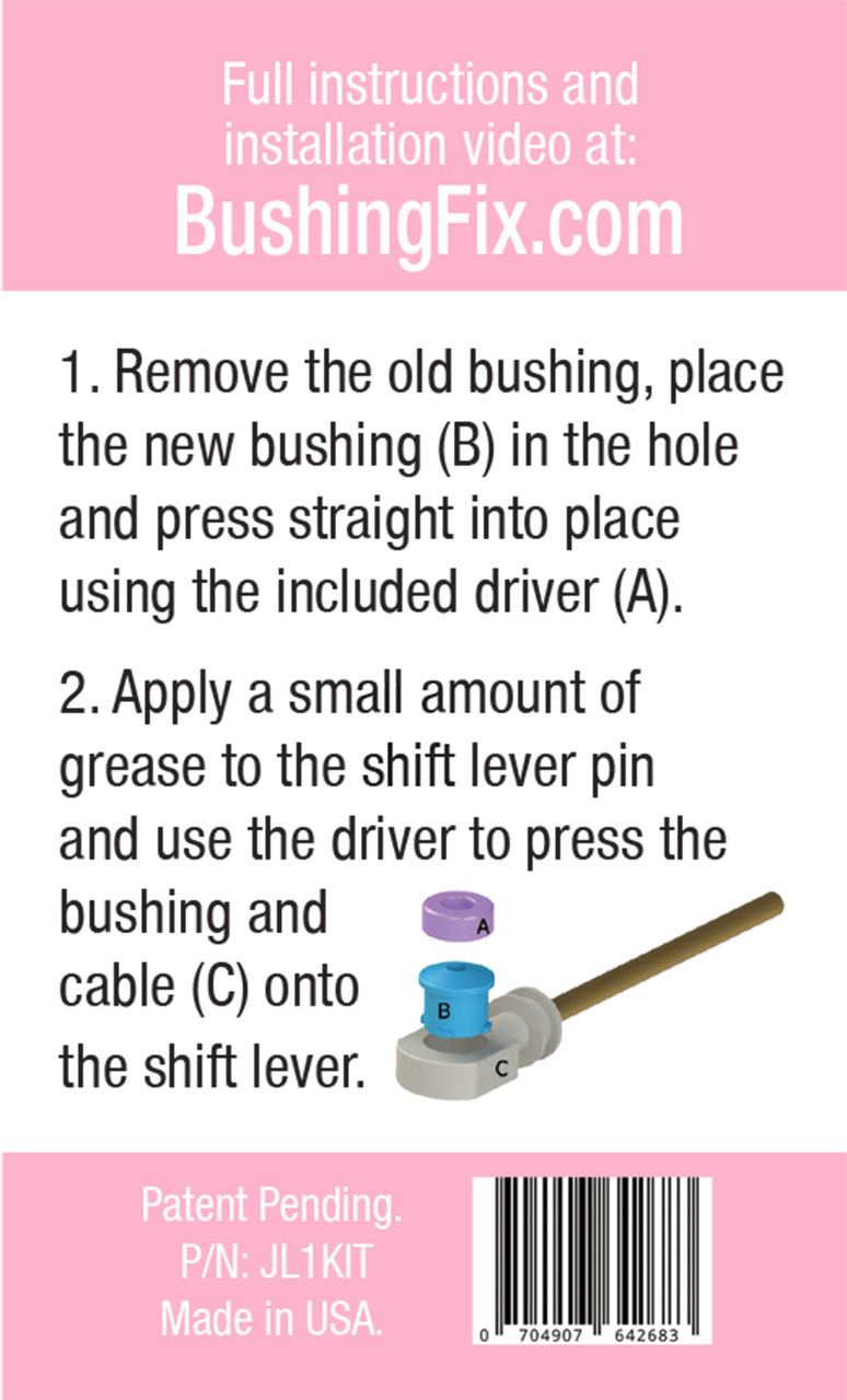 JL1Kit transfer or shift cable repair kit with replacement bushing and easy to follow directions.