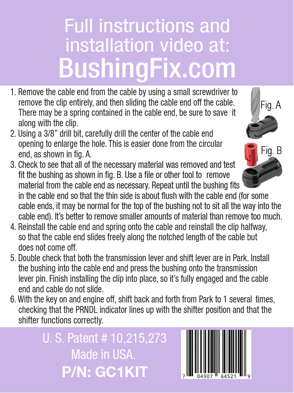 Chevrolet Sonic shift cable repair includes easy installation replacement bushing.