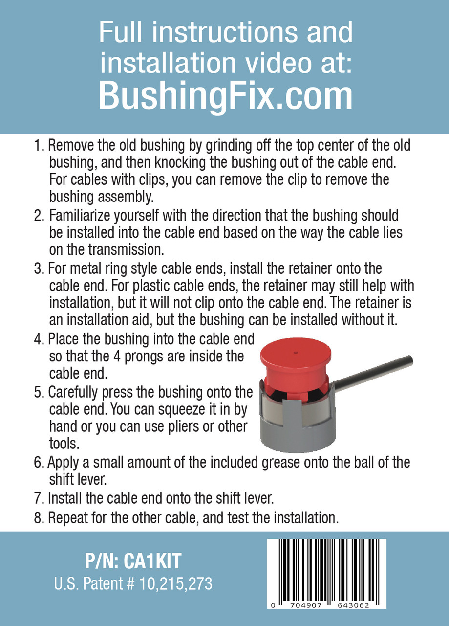 Chevrolet Cruze Limited manual transmission shift cable repair includes easy installation replacement bushing.