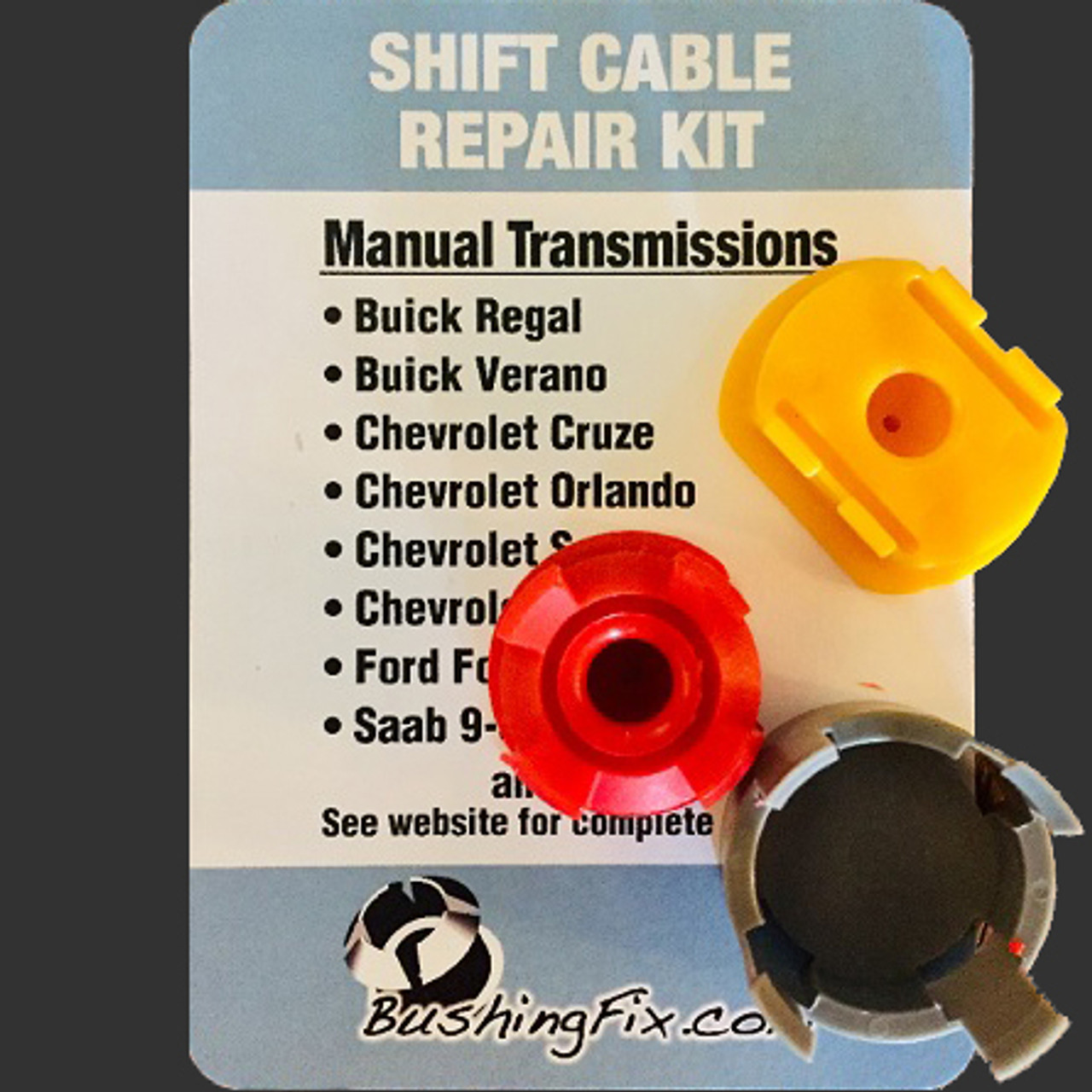 Chevrolet Sonic manual transmission shift cable repair includes easy installation replacement bushing one for each of the different style of cable end shape round or oblong.