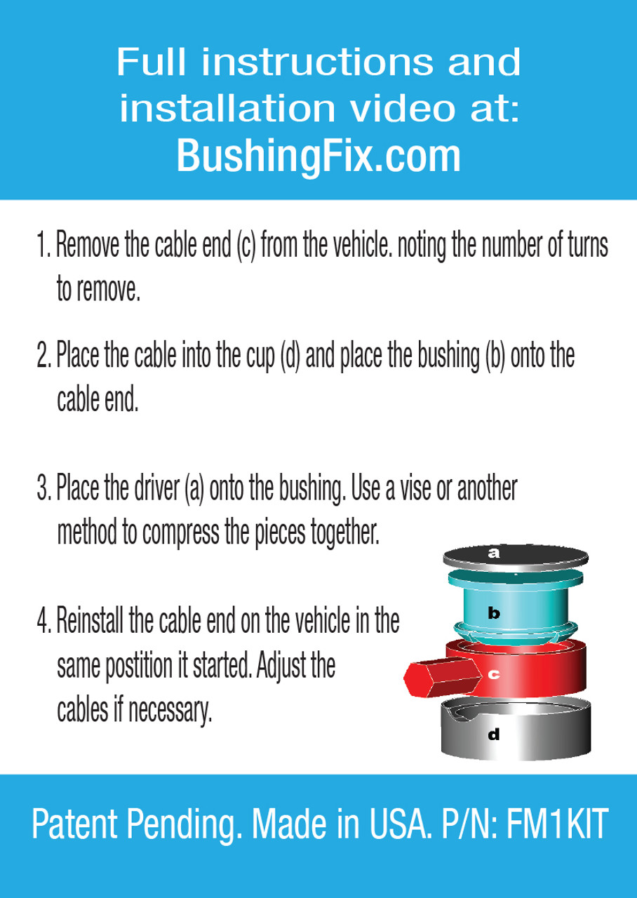 Jeep Renegade manual transmission shift cable bushing