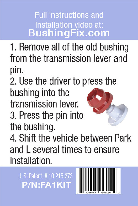 Ford Country Squire FA1KIT™ Transmission Shift Lever / Linkage Replacement Bushing Kit easy to follow instructions for DIY.