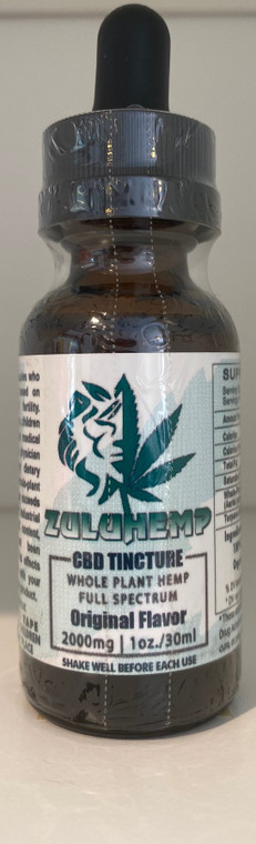 Zuluhemp 2000mg Full Spectrum CBD Tincture, 2000mg of 60% active Full Spectrum Hemp Extract in a proprietary carrier oil blend of Organic Unrefined Hemp Seed Oil and Organic Coconut MCT Oil.