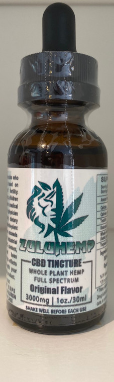 Zuluhemp 3000mg Full Spectrum CBD Tincture 3000mg of 60% active Full Spectrum Hemp Extract in a proprietary carrier oil blend of Organic Unrefined Hemp Seed Oil and Organic Coconut MCT Oil. Naturally Flavored, 1oz./30mL Bottle, 100mg/mL, DO NOT VAPE- Product intended for oral, sublingual or edible use.